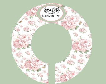 Baby Closet Dividers, Shabby Chic Closet, Floral Closet Divider, Personalized Closet Organizer, Floral Nursery Organizer, Pink Nursery (820)