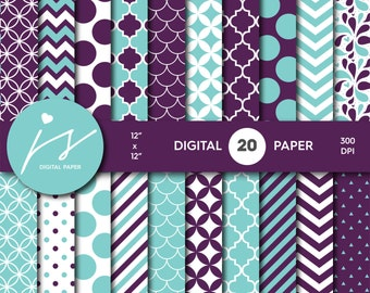 Turquoise Purple Digital Paper Pack, Printable Paper, Seamless Paper Pattern, Digital Paper Bundle, Commercial Use Digital Paper, MI-198A