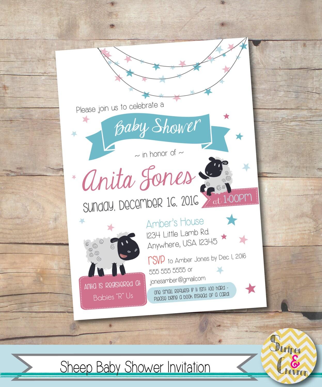 Printable Lamb Baby Shower Invitation Custom Baby Shower