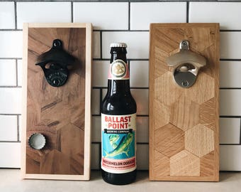 BLACK Bottle Opener - Hexgon Walnut or Oak Wood (magnetic or non-magnetic)