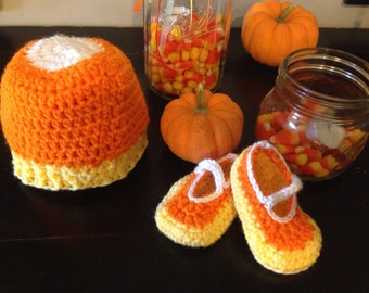 Candy corn set of Mary Jane shoes and beanie