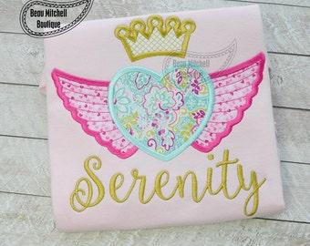 heart wings crown applique