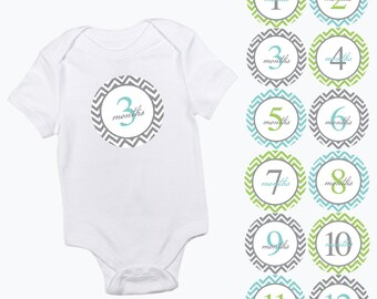 baby monthly stickers chevron pattern green aqua and grey girls or boy zig zag month baby growth milestone newborn baby shower photo prop