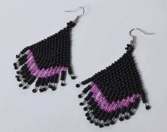 Long dangle seed bead earrings black pink Beaded Fringe Earrings Boho Earrings Gift For Her beadwork jewelry