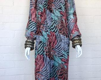 Vintage 70's Mayur Indian Gauze Dress / India Cotton Boho Dress / Hippie Bohemian Gypsy Festival Tent Midi Dress