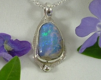 Ethiopian Fire Opal Necklace Sterling Silver Large Gem Handmade One of a Kind Statement Necklace Statement Jewelry Blue Green Fire 446 G