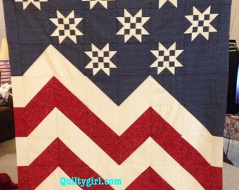 Stars a Waving - Patriotic Quilt Pattern - perfect for beginners to advanced