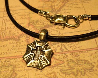 Free Shipping, Leather Necklace, Cross, Mens Necklace, Mens Jewelry, Mens Gift, Pendant, Distresed Cord