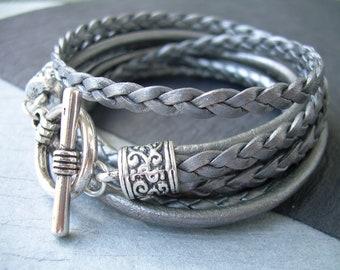 Womens  Leather Bracelet , Leather Bracelets for Women, Womens Bracelets, Leather Bracelets, Gray, Silver, Triple Wrap, Womens Gift,