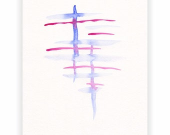 Abstract strokes painting. Blue and purple painting. Original watercolor art. Modern minimalist sketch.