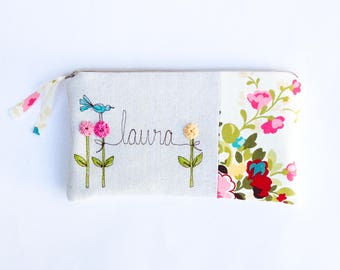 Baby Shower Hostess Gift, Thank You Gift, Personalized Clutch Purse, Shower Hostess Thank You, Womens Gift, Your Floral Fabric Choice