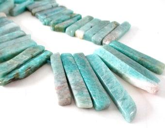 """Aqua Blue Amazonite Stick Beads - Smooth Freeform Polished Slab Spike - Graduated Slice Pendant - 8"""" Strand - DIY Summer Boho Jewelry Making"""