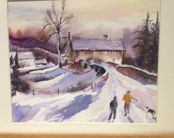 Original water colour painting winter walk