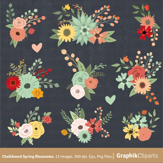 """Flower Wall Decor Reversible Mosaic With Chalkboard: Chalkboard Spring Blossooms Clip Art. """"FLORAL CLIPART"""