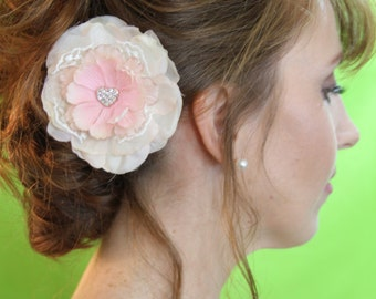 "Blush colored flower with lace and crystal heart detail.  rose gold coloring.  ""Mackenzie"""