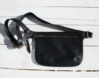 Black Leather Bag, Fanny Pack, Leather Fanny Pack, Black Fanny Pack Bag, Festival Fanny Pack, Fanny Pack for Women, Belt Bag, Leather Bag