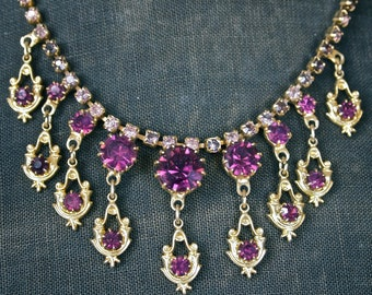 Czech Fringed Rhinestone Necklace Purple Bohemian Empress Necklace with Dangles