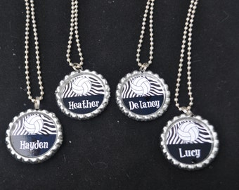 4 Personalized Volleyball Bottlecap Necklaces,GLITTER or Plain, volleyball gifts, volleyball gift, volleyball necklace, team gift