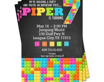 "Building Block Invitation BRIGHT Colors | Printable 5"" x 7"" | Customized | Construction"