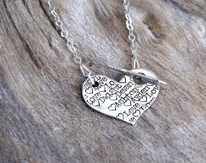 Heart Name Necklace | Heart Pendant Necklace | Name on Heart | Hand Stamped Name Necklace | Custom Name Necklace | Arrow Necklace