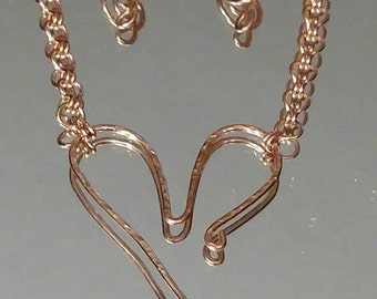 Copper Open Heart Necklace, Matching Earrings, Dangle With Ear Wires, Music Lover Necklace, G-clef Charm, Matching Set