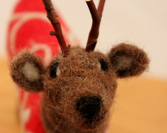 Reindeer, Needle felted Reindeer, Reindeer in Jammies,  Felt Red Christmas Deer #2103