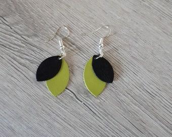 leather, black, Apple green earrings green leather petals, OOAK