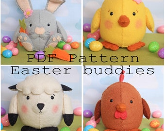 Easter buddies pdf pattern, egg, plushy, kawaii, sew your own, make your ien, diy, wool felt, rabbit, chicken, rooster, lamb, sewing pattern