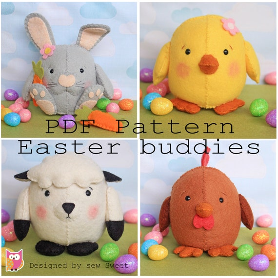 Easter buddies pdf pattern egg plushy kawaii sew your own