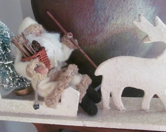 1940s white German mica glitter  wood reindeer and sleigh ,vintage santa, bottle brush tree