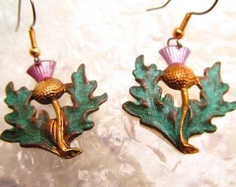 Thistle Earrings Scottish thistles Pierced earrings Lightweight earrings vintage