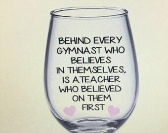 Gymnastics wine glass. Gymnastics team. Gymnastics gift. Gymnastics coach gift. Gymnastics teacher gift.