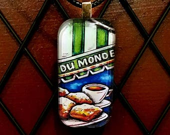 Cafe du Monde New Orleans one inch Glass Tile Pendant with cord