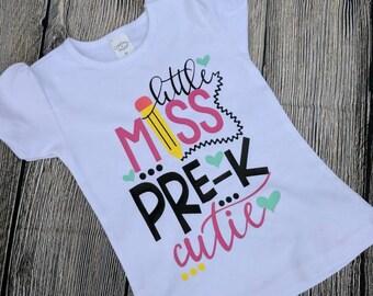 Pre k girls shirt, pre k shirt, pre k cutie shirt, first day of pre k girls shirt, pre k outfit, girls pre k shirt, first day of school