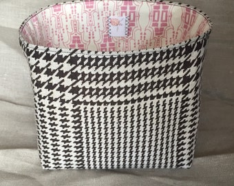 Fabric Project Box - houndstooth and masquerade print in brown and pink