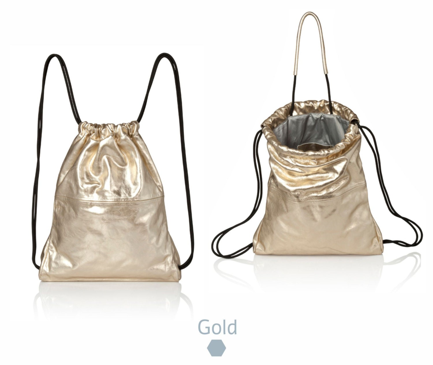 Metallic Gold Leather backpack purse metallic leather bag