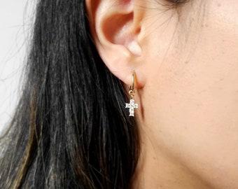 Small Cross CZ Hoop Earrings   14k gold fill cross earrings,tiny cross hoops,religious hoop earrings,sterling silver endless hoop earrings