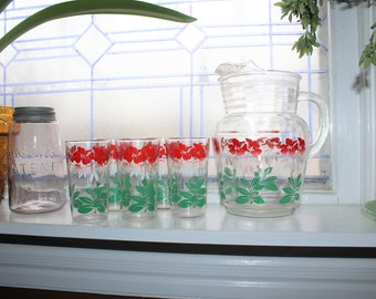 Mid Century Glass Pitcher and 5 Tumblers Red White Green Vintage 1950s