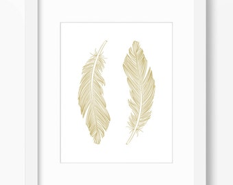 Feather Print, Feather Art, Feather Wall Art, Two Feathers, Gold, Wall Print, Gold Feather Print, Vertical Feather Print, Gold Feathers