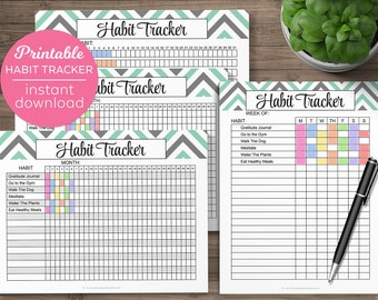 Set of Habit Tracker Files Printable Habits Tracking List Monthly Daily Weekly Letter Editable PDF Checklist Print Instant Download Template