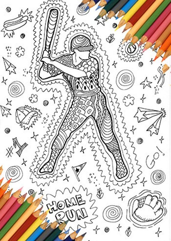 Béisbol para colorear página zentangle dibujo doodle juego