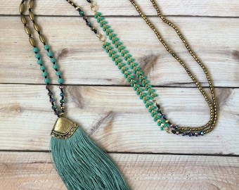 Long Boho Style Necklace with Tassel
