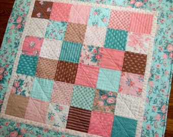 Baby Girl Quilt/Pink/Brown/Turquoise/Flowers/Polka Dots