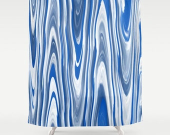 Blue & White Shower Curtain-Modern-Abstract Art-Bold Bathroom Decor-Funky-Contemporary Bath Decor-Wavy/Distorted Lines-Royal Blue and Gray