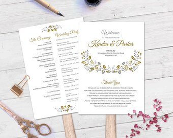 Wedding programs| Printable fan programs| Wedding program template| Editable| Instant download| FEP| T24