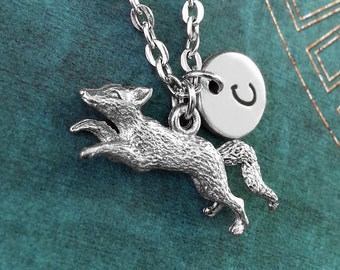 Fox Necklace, Personalized Necklace, Fox Pendant, Custom Necklace, Fox Charm Necklace, Fox Jewelry, Fox Gift, Custom Gift, Silver Necklace