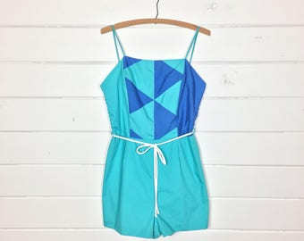 Vintage 1980s Teal & Blue Cotton Playsuit / Made by Seawaves / Shorts Romper / Geometric