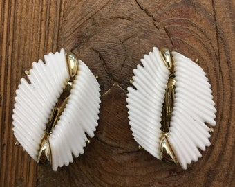 Vintage BSK White Earrings