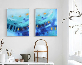 Blue abstract artwork printable art set of two,turquoise teal blue diptych art, wall canvas fine art giclee print, modern contemporary art