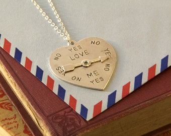 Heart Shaped Decision Maker Necklace - Love Spinner Pendant - Love Meter Necklace